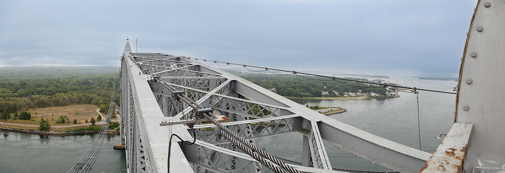 A panoramic view from the north tower of the Cape Cod railroad bridge.