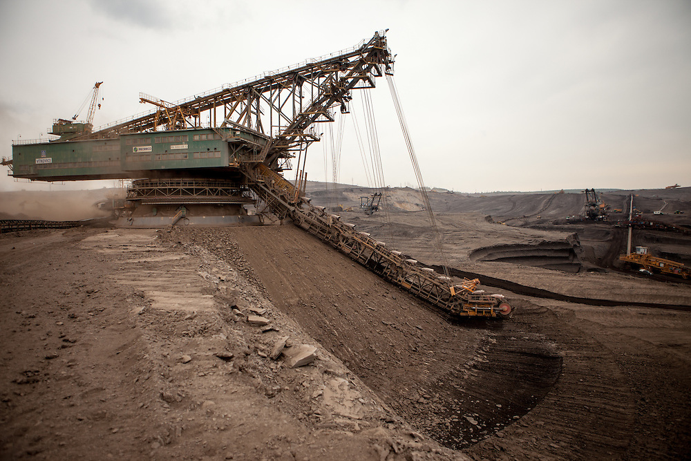A brown coal excavator at a surface mine located at the North Bohemian Basin in Most, Czech Republic. The Czech Coal Group offers visitors the possibilty to see unique technical works in the mining areas of their surface mines.