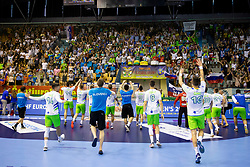Players of Slovenia celebrate win against France after handball match between National teams of France and Slovenia in Final of 2018 EHF U20 Men's European Championship, on July 29, 2018 in Arena Zlatorog, Celje, Slovenia. Photo by Urban Urbanc / Sportida