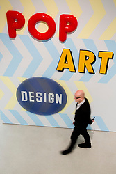"© Licensed to London News Pictures. 21/10/2013. London, England. The Exhibition ""Pop Art Design"" opens at the Barbican Art Gallery/Barbican Centre running from 22 October 2013 to 9 February 2014. The exhibition brings together 200 works by 70 artists and designers including Peter Blake, Andy Warhol and Roy Lichtenstein. Photo credit: Bettina Strenske/LNP"