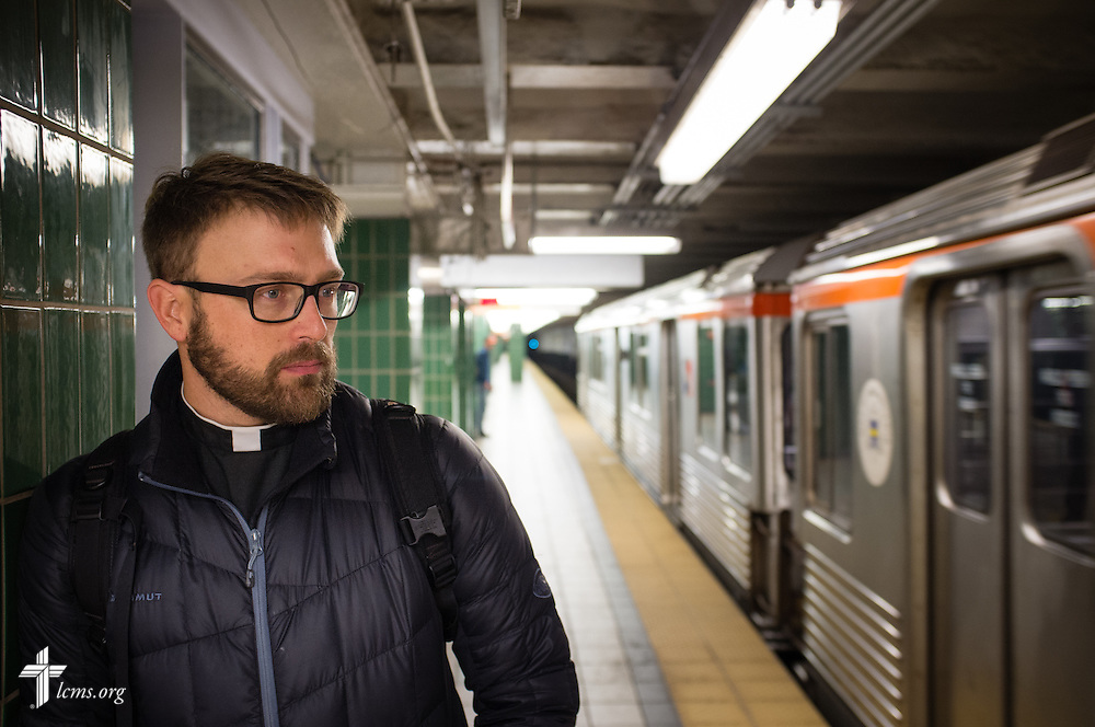 The Rev. Adam DeGroot, new national missionary and pastor at Shepherd of the City Lutheran Church, waits for a subway on Monday, Nov. 2, 2015, in downtown Philadelphia.  LCMS Communications/Erik M. Lunsford