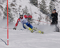 Ben Morse of Carrabassett Valley Academy/Sugarloaf, ME charges the slalom course during the J2 Nationals at Aspen, Co Wednesday.  Morse finished first in the event as well as placing first in the downhill event held on Monday.  Giant Slalom and Super G events will follow on Thursday and Friday at Aspen Mountain.  Karen Bobotas/Photographer