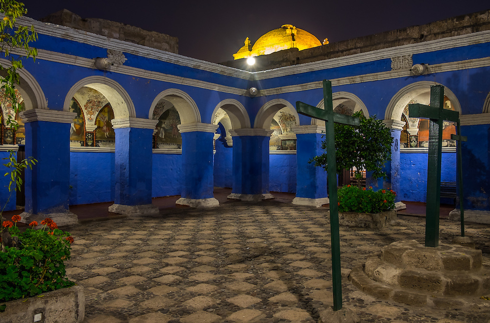 AREQUIPA, PERU - CIRCA APRIL 2014: Monastery of Santa Catalina at night in  Arequipa. Arequipa is the Second city of Perú by population with 861,145 inhabitants and is the second most industrialized and commercial city of Peru.