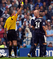 Photo: Daniel Hambury.<br /> Manchester City v West Bromich Albion. Barclaycard Premiership. 13/08/2005.<br /> West Brom's Ronnie Wallwork is booked.