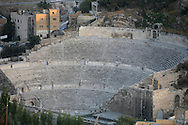 The colisseum in Amman, Jordan is an old Roman icon.