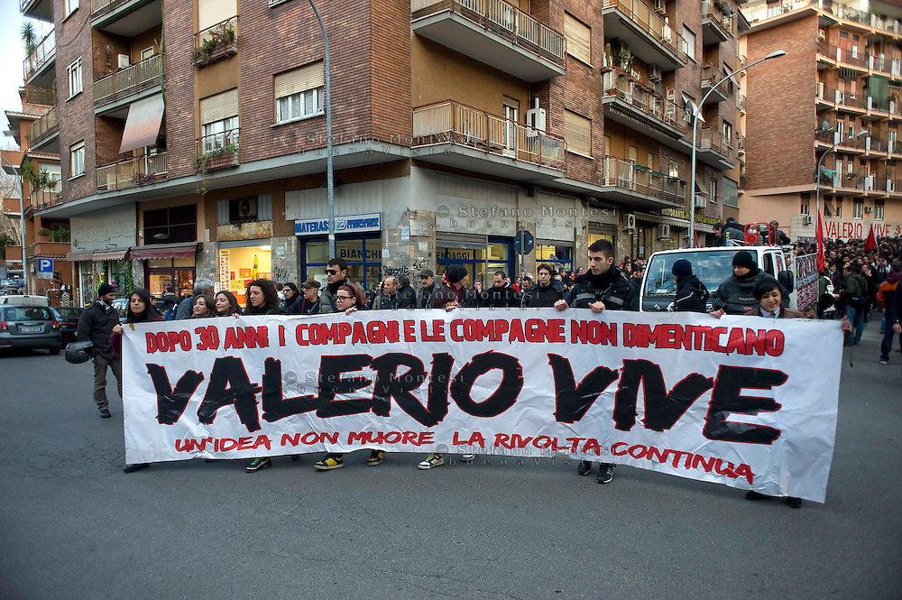 Roma 22 Febbraio 2012.Manifestazione in ricordo di Valerio Verbano, ucciso dai fascisti nella sua abitazione nel 1980..Demonstration in memory of Valerio Verbano, killed by fascists in his home in 1980..http://it.wikipedia.org/wiki/Valerio_Verbano