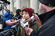 Behdahbuhn Logan speaks to media at a Colten Boushie prayer vigil in front of a courthouse in downtown Windsor, Ontario, Canada. Logan's emotional speech from a youth perspective catches the media's attention.
