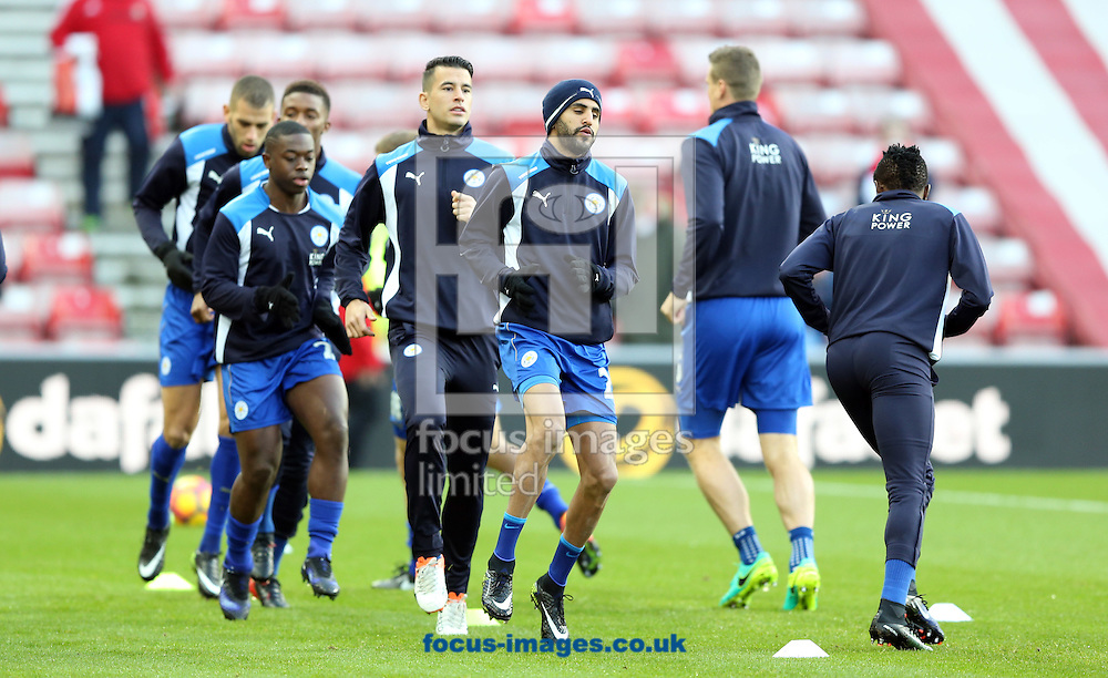 Leicester City players warm up prior to the Premier League match at the Stadium Of Light, Sunderland<br /> Picture by Christopher Booth/Focus Images Ltd 07711958291<br /> 03/12/2016