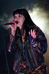© Licensed to London News Pictures. 02/06/2012. London, UK. Sleigh Bells performs live at Field Day Festival, Victoria Park, London.  Photo credit : Richard Isaac/LNP
