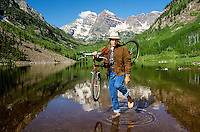 Tom Hayles in position to be photographed by a Japanese magazine at the Maroon Bells outside of Aspen, CO, 1988