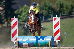 Strickaert Elien (BEL) - Rex van't Paddenhof<br /> Nationale Pony eventing Affligem 2013<br /> © Dirk Caremans