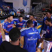Grand Rapids Drive huddle together prior to a NBA D-league regular season basketball game between the Delaware 87ers and the Grand Rapids Drive (Detroit Pistons) Saturday, Apr. 04, 2015 at The Bob Carpenter Sports Convocation Center in Newark, DEL.