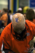 An older Auburn fan shows that face painting isnt just for the young, but also for the young at heart.