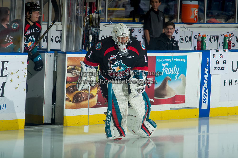KELOWNA, CANADA - OCTOBER 5:  James Porter #1 of the Kelowna Rockets enters the ice at the start of warm up against the Victoria Royals on October 5, 2018 at Prospera Place in Kelowna, British Columbia, Canada.  (Photo by Marissa Baecker/Shoot the Breeze)  *** Local Caption ***