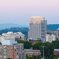 Full moon rising over downtown Portland, OR.