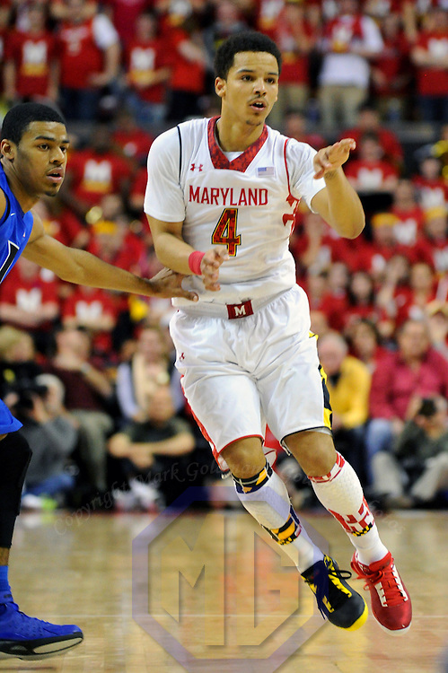 16 February 2013:   Maryland Terrapins guard Seth Allen (4) in action against the Duke Blue Devils at the Comcast Center in College Park, MD. where the Maryland Terrapins upset the second ranked Duke Blue Devils, 83-81.