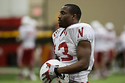 March 27, 2013:  Linebacker Zaire Anderson #13 at practice at Hawks Championship Center in Lincoln, Nebraska.