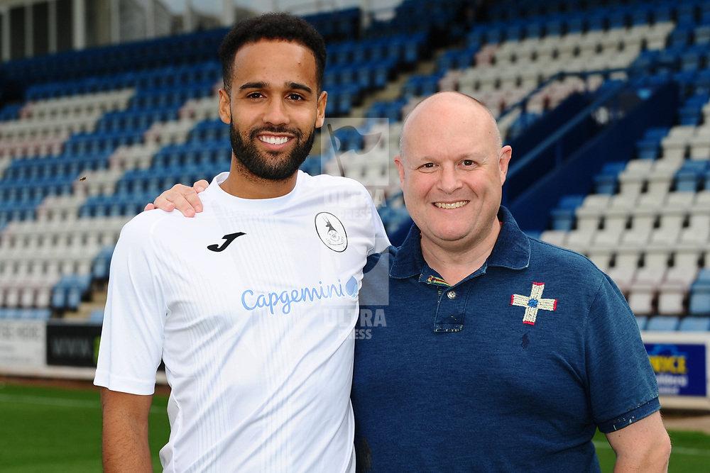 AFC Telford United pre-season photoshoot at the New Bucks Head Stadium on Thursday, August 1, 2019<br /> <br /> Brendan Daniels with sponsor Tim Roberts<br /> <br /> Free for editorial use only<br /> Picture credit: Mike Sheridan/Ultrapress<br /> <br /> MS201920-004