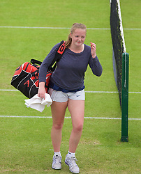 LIVERPOOL, ENGLAND - Wednesday, June 17, 2015: Lauren Dowling during the women's qualifying final during Kids Day of the Liverpool Hope University International Tennis Tournament at Liverpool Cricket Club. (Pic by David Rawcliffe/Propaganda)