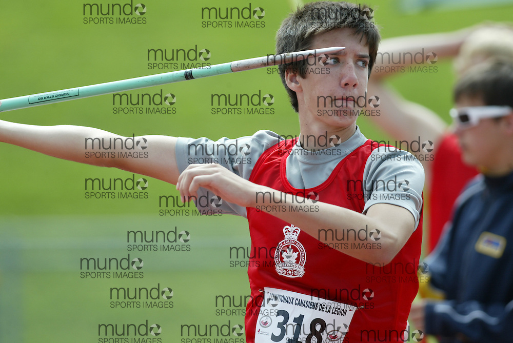(Sherbrooke, Quebec -- 9 Aug 2009)  Tc Fraser of Ontario competes in javelin throw at the 2009 Legion Youth National Track and Field Championships. Photograph copyright Sean Burges / Mundo Sport Images  2009.