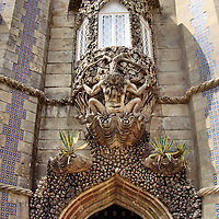 Pena National Palace Triton Gate in Sintra, Portugal<br />