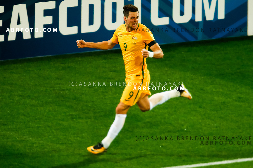 MELBOURNE, AUSTRALIA - SEPTEMBER 5 : Tomi Juric of the Australia Socceroos celebrates after scoring a goal during the Stage 3 Group World Cup Football Qualifiers between Australia Vs Thailand at the Melbourne Rectangular Stadium, Melbourne, Australia 5 September 2017.