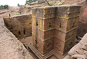Exterior of Bet Giyorgis or the Church of St. George, a monolithic rock-hewn church carved from solid roc in the shape of a cross deemed as a UNESCO World Heritage Site located in Lalibela, a holy city in Ethiopia