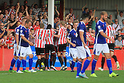Rob Dickie celebrates the winning goal during the Vanarama National League match between Cheltenham Town and Barrow at Whaddon Road, Cheltenham, England on 22 August 2015. Photo by Antony Thompson.