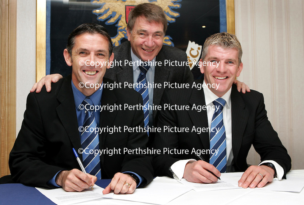 St Johnstone manager Owen Coyle (left) pictured with his assistant Jim Weir (right) and Chairman Geoff Brown who has today extended the contracts of Coyle and Weir. Owen was also named Bells Manager of the Month for March today.<br /> see story by Gordon Bannerman Tel: 01738 553978 or 07729 865788<br /> Picture by Graeme Hart.<br /> Copyright Perthshire Picture Agency<br /> Tel: 01738 623350  Mobile: 07990 594431