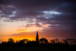 © Licensed to London News Pictures. 04/01/2017. Baldersby Saint James UK. Picture shows St James's church in the North Yorkshire village of Baldersby Saint James at dawn this morning. Photo credit: Andrew McCaren/LNP