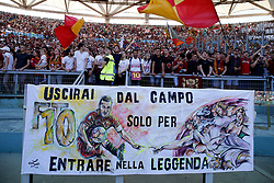 AS Roma vs Genoa as part of the Calcio Football Series held at the Stadio Olimpico in Rome, Italy. 28 May 2017 Pictured: Roma's supporters show a banner for Francesco Totti to celebrate his last match with AS Roma. Photo credit: Insidefoto / MEGA TheMegaAgency.com +1 888 505 6342