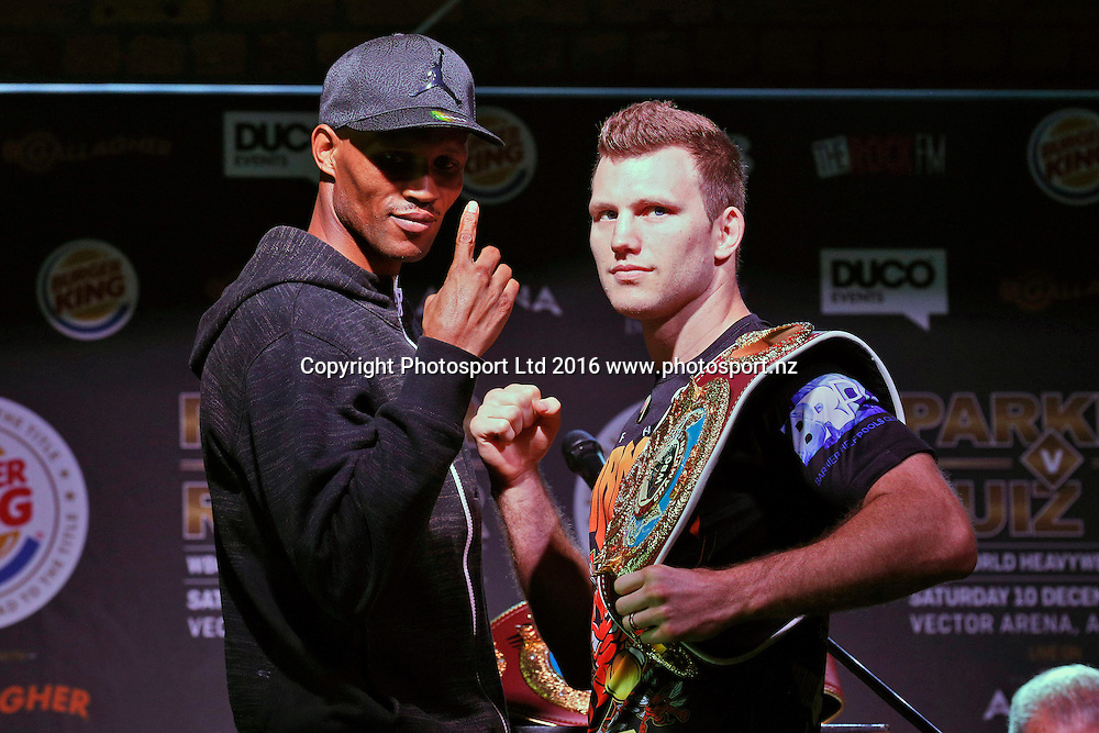 Ali Funeka (L) and Jeff Horn, Final press conference before the December 10, Parker v Ruiz, WBO world boxing heavyweight title fight. Rec Bar, Auckland. 8 December 2016 / www.photosport.nz