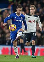 Football - 2016/2017 Premier League - Chelsea V Tottenham Hotspur<br /> <br /> Eden Hazard of Chelsea with Christian Eriksen of Tottenham closing in from behind at Stamford Bridge.<br /> <br /> COLORSPORT/DANIEL BEARHAM