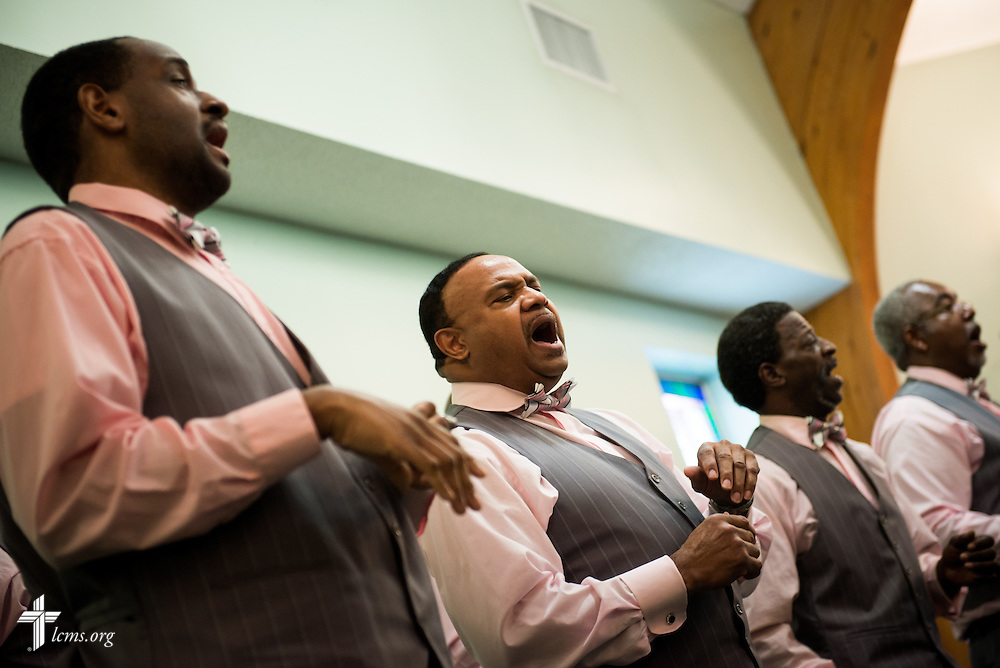 Members of the men's choir sing during worship at Trinity Lutheran Church Sunday, April 6, 2014, in Mobile, Ala. LCMS Communications/Erik M. Lunsford