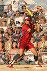 30 June 2004  Team USA's Jessica Mendoza takes her stance in the batters box. Bloomington Lady Hearts vs. USA Olympic Softball Team.  Champion Field #1.  Normal Illinois