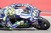 Italy's Valentino Rossi (46) in a practice session during the 2016 Grand Prix of the Americas Moto GP race at circuit of the Americas, in Austin, Texas on April 9, 2016.