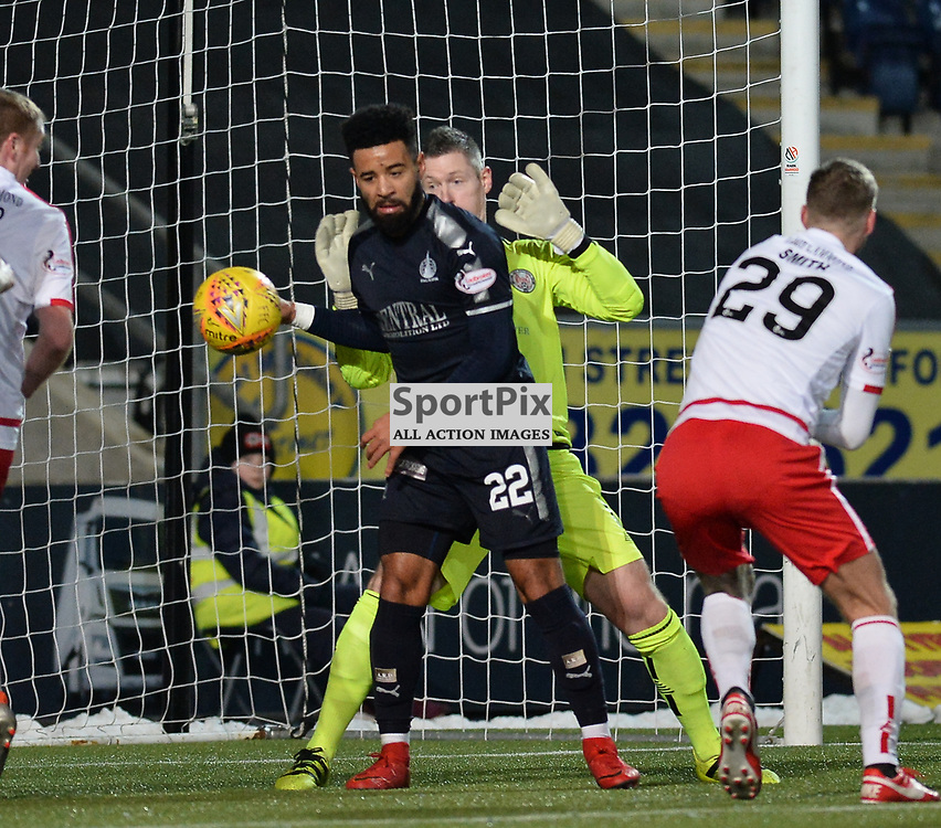Alex Jakubiak (Falkirk) tusks with Brechin City goalkeeper Graeme Smith before scoring his first goal for Falkirk during the Scottish Championship match between Falkirk and Brechin City at the Falkirk Stadium.<br /> <br /> (c) Dave Johnston | SportPix.org.uk