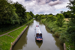 Narrow boat of Kennet and Avon Canal in Wiltshire England, United Kingdom
