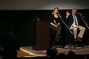 Veronica Volk of WXXI News and Gary Craig of the Democrat & Chronicle take a question from the audience during the recording of the final episode of Finding Tammy Jo at The Little Theatre in Rochester on Monday, June 13, 2016.