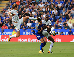 Marcos Alonso and Antonio Rudiger bale with Riyad Mahrez of Leicester City - Mandatory by-line: Paul Roberts/JMP - 09/09/2017 - FOOTBALL - King Power Stadium - Leicester, England - Leicester City v Chelsea - Premier League