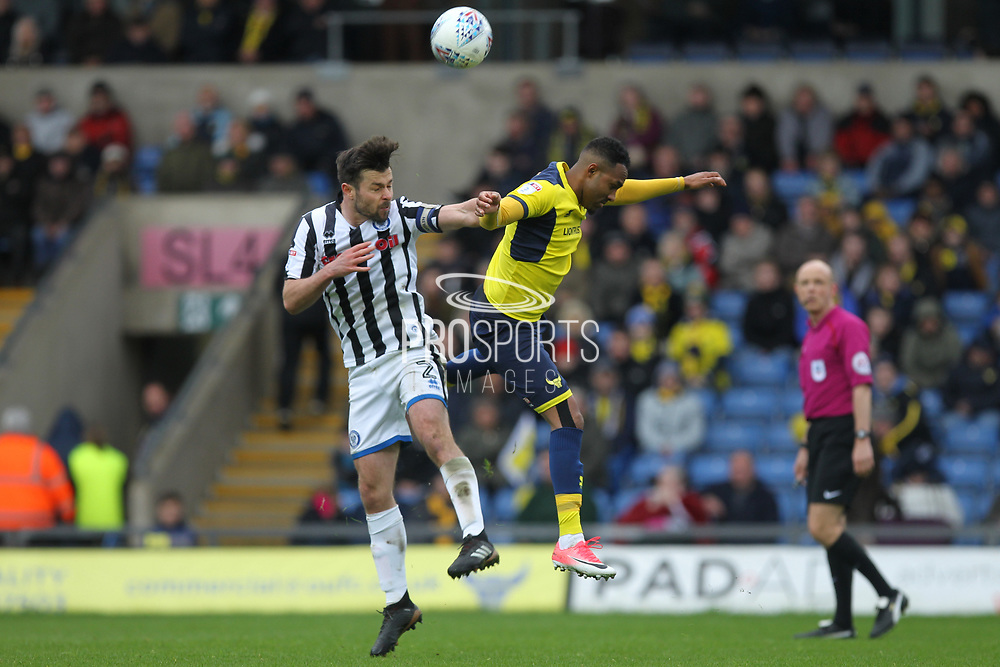 Joe Rafferty wins a header during the EFL Sky Bet League 1 match between Oxford United and Rochdale at the Kassam Stadium, Oxford, England on 28 April 2018. Picture by Daniel Youngs.