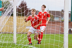 NEWPORT, WALES - Sunday, September 24, 2017: Wales' Oliver Ewing celebrates scoring the fifth goal during an Under-16 International friendly match between Wales and Gibraltar at the Newport Stadium. (Pic by David Rawcliffe/Propaganda)