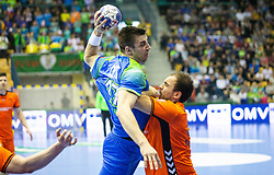 Nejc Cehte of Slovenia during handball match between National teams of Slovenia and Netherlands in Qualifications of 2020 Men's EHF EURO, on April 14, 2019, in Arena Zlatorog, Celje, Slovenia. Photo by Vid Ponikvar / Sportida