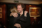 CHRISSIE BLAKE AND MIKE FIGGIS, Sir Peter Blake and Poppy De Villeneuve host a party with University of the Arts London at the Arts Club, Dover Street, London. 20 APRIL 2006<br />