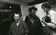 A Guy Called Gerald with 808 State's Graham Massey in studio, Manchester, UK, circa 1990
