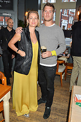ZOE JORDAN and her brother KYLE JORDAN at a quiz night hosted by Zoe Jordan to celebrate the launch of her men's ZJKNITLAB collection held at The Larrick Pub, 32 Crawford Place, London on 20th April 2016.