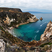Potato Harbor, located on the Island of Santa Cruz Island, part of the Channel Islands of California off the southern coast, is seen in this panoramic image taken from above along one of the trails leading to Scorpion Ranch and the ferry landing.