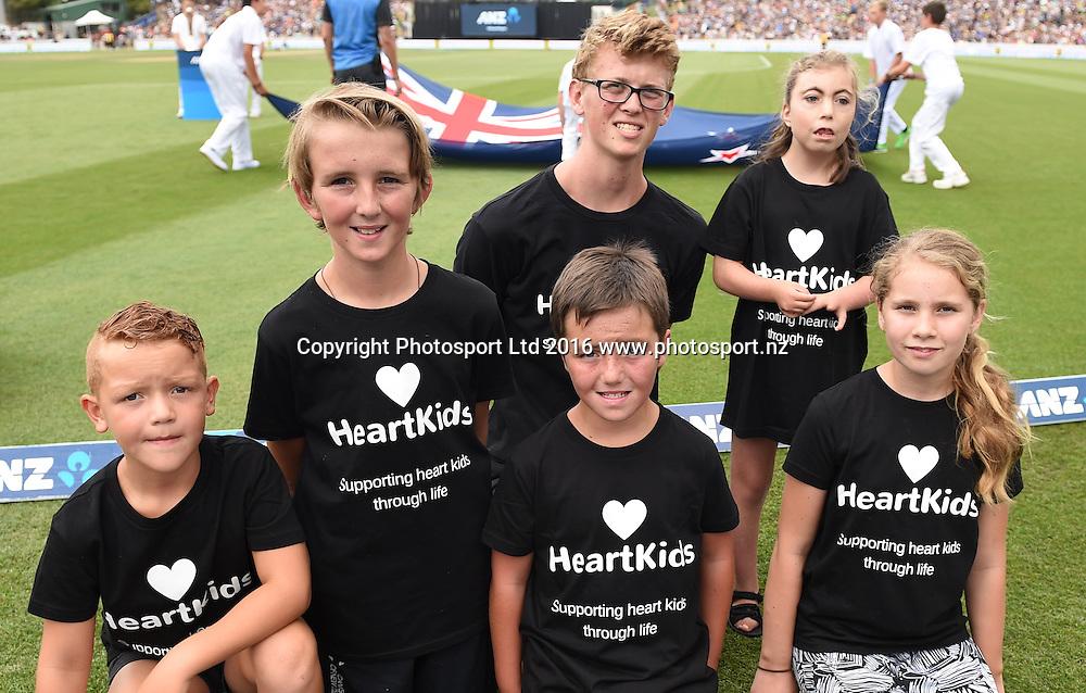 NZC charity Heart Kids. New Zealand Black Caps v Australia, Chappell Hadlee Trophy Match 3. ANZ ODI Cricket Series. Seddon Park, Hamilton, New Zealand. Monday 8 February 2016. Copyright photo: Andrew Cornaga / www.photosport.nz