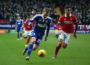 Ipswich striker Freddie Sears taking on Charlton Athletic defender Morgan Fox during the Sky Bet Championship match between Charlton Athletic and Ipswich Town at The Valley, London, England on 28 November 2015. Photo by Matthew Redman.