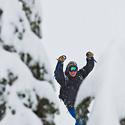 Deep snow and great turns have Owen Dudley happy about a powder day in the Mount Baker backcountry.